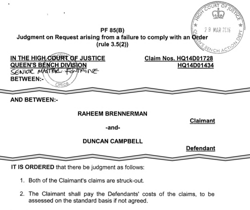 Highlights of High Court judgment against Raheem Brennerman